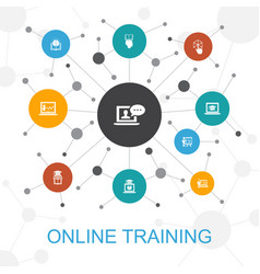 Online training trendy web concept with icons vector