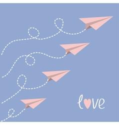 Origami paper plane set dash line loop in sky vector