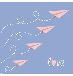 Origami paper plane set dash line loop in the sky vector