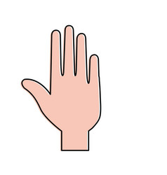 Palm hand with fingers vector