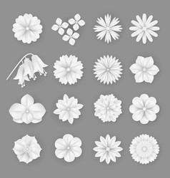 Paper flowers set 3d origami abstract vector