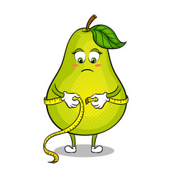 Pear measuring waist pop art vector