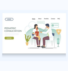 pediatric consultation website landing page vector image