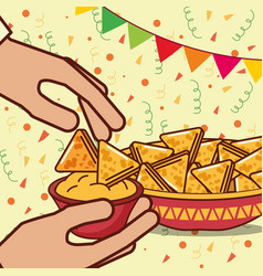 People mexican food vector