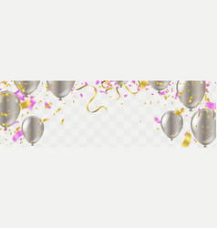 pink party balloons confetti and ribbons flag vector image
