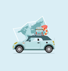 Planning summer vacations travel by car vector