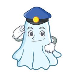 Police cute ghost character cartoon vector