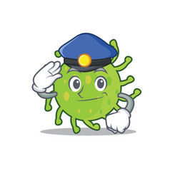 police green bacteria character cartoon vector image