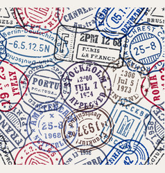postal stamps seamless pattern background vector image