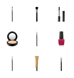 Realistic blusher brush fashion equipment and vector