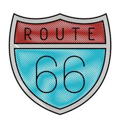 Route 66 shield icon vector
