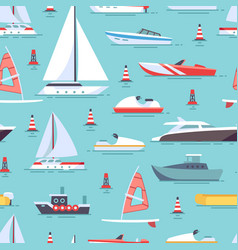 Sailboats and boats seamless pattern design vector
