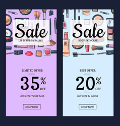 sale banners for beauty shop with hand vector image
