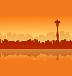 scenery seattle space needle tower silhouettes vector image