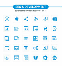 Seo and developement blue icons vector
