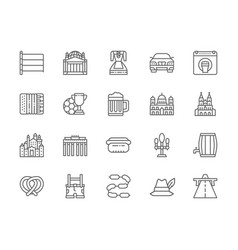 set german culture line icons highway vector image