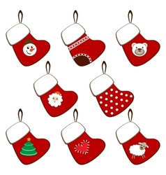 Set of Christmas stockings vector
