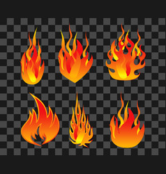 set of fire flame easy to modify vector image