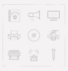 set of tech icons line style symbols with data vector image