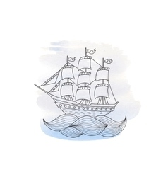 Ship with sails on watercolor background vector