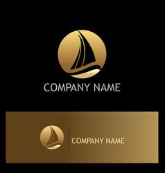 Ship yacht gold logo vector
