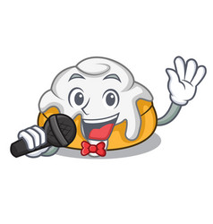 Singing cinnamon roll mascot cartoon vector