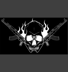 Skull with machine guns kalashnikov ak-47 vector