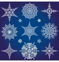 Snowflakes icon collectionWinter shapeStar and vector image