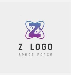 Space force logo design z initial galaxy rocket vector