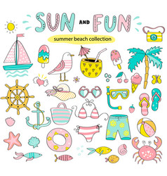 Summer set of sun and fun hand drawn elements vector