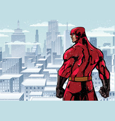 superhero back city winter vector image