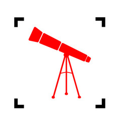 telescope simple sign red icon inside vector image