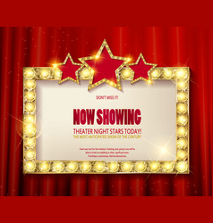 Theater sign or cinema sign on red curtain vector
