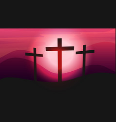 Three crosses on calvary crown thorns vector