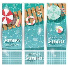 Three vertical banners with swimming pool vector