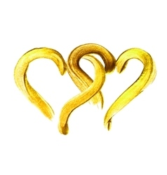 Two hand-drawn gold hearts vector