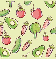 Vegetables pattern background vector