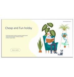 Website for reading books hobby vector