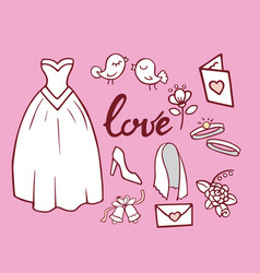 wedding outline hand drawn icons vector image