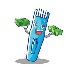 With money trimmer mascot cartoon style vector