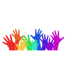With rainbow childrens hands for your creativity vector