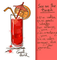 With sex on beach cocktail vector