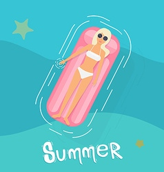 Woman in swim suit lying on floating swimming pool vector