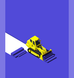 yellow bulldozer pushing blue ground modern vector image