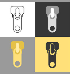 Zippers icon set in flat design vector