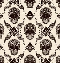 Brown Skull Pattern vector image vector image