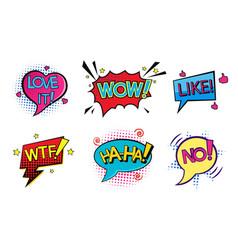 comic pop art speech bubbles set vector image
