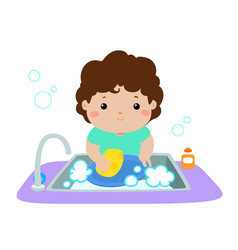 happy boy washing dish on white background vector image vector image