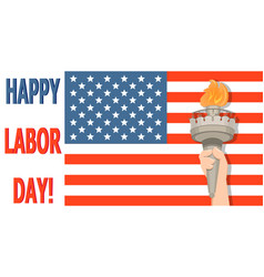 labor day greeting card with usa flag and statue vector image vector image