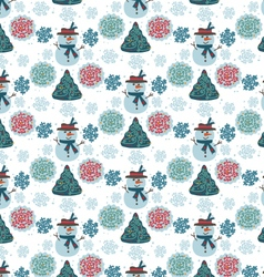 pattern snowman seamless vector image vector image